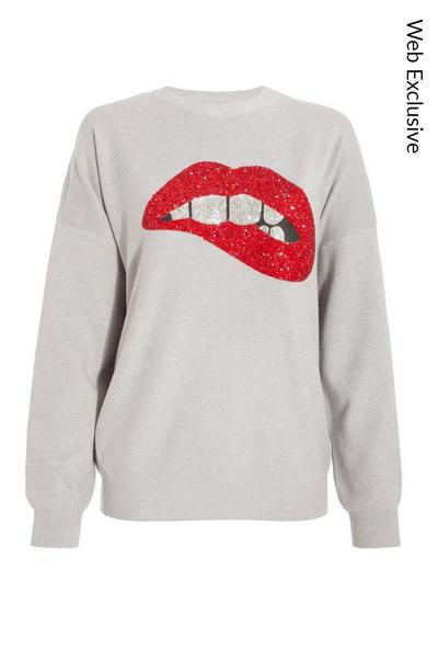 Grey Sequin Lips Knitted Jumper